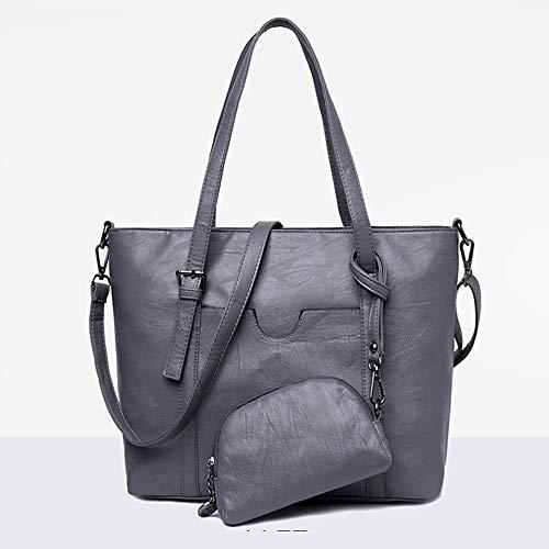 Body Pu borse Set Qztg Tote Capacity Cross Grigio Set pezzi Greyote Red Zipper Classic Large di da donna 2 1KJclF