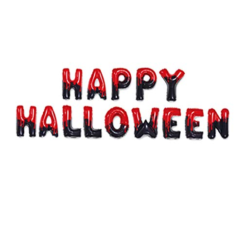 Halloween Friendly Letter (SYNUO Happy Halloween Letters Foil Balloons Halloween Party Decoration Home Office Party Party Decoration 3 Colors Available (Reddish)