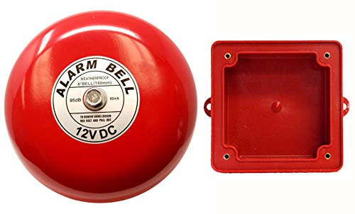 "Fire Alarm Bell 6"", 12 vdc, with Weatherproof Backing Enclosure, Security Bell"