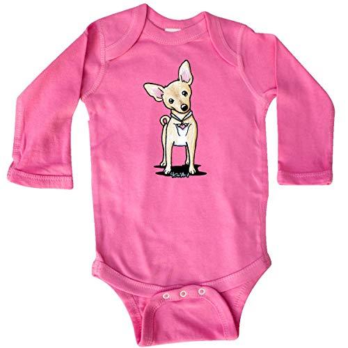 - inktastic - Curious Chihuahua Long Sleeve Creeper 18 Months Raspberry - KiniArt