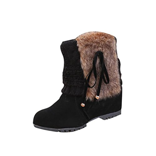 Clode® Womens Boots, Women Lady Mid Calf Boots Comfort Shoes Flats Knitted Cuff Round Toes Warm Winter Flat Snow Rain Boots Black