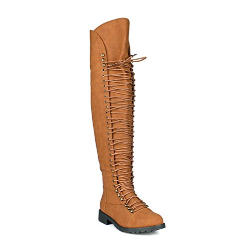 SHOEDEZIGNS Travis 05 Women Military Lace Up Thigh High Combat Boot,Camel Thigh High,10 ()