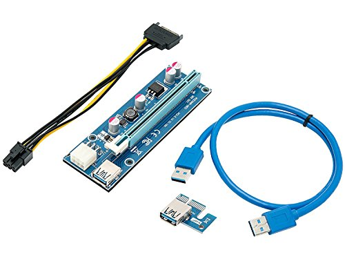 - Mining Card, Riser Card, PCIe (PCI Express) 16x to 1x Riser Adapter, USB 3.0 Extension Cable 60cm, 6 pin PCI-E to SATA Power Cable, GPU Riser Adapter, Ethereum Mining Riser Card