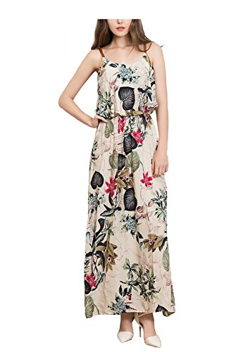 Bohemian Sexy Floral Printed Long Beige Dress Woman Party SYGoodBUY Beach Strapless for 123 C6U5C