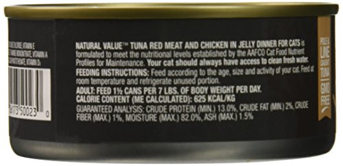 Natural Value Red Meat Tuna in Jelly Topped with Chicken Cat Food, 5.5 Ounce Cans (Pack of 24)