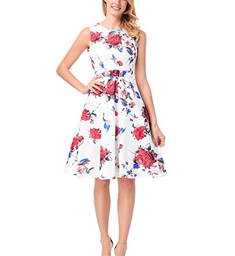 Weekendy Robe sans Manches de Mode Robe Rose Modle Robe Une Ligne Jupe Robe Ceinture Red