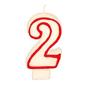 Partygram - Vela de Cumpleaños Número 2 - Blanca con Filo ...