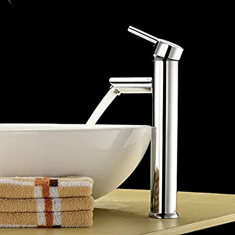 LightInTheBox Single Handle Contemporary Bathroom Lavatory Vanity Vessel Sink Faucet Chrome Tall Spout Deck Mount Bathtub Faucet MixerPlumbing Fixtures Single Hole (Tall Double Sink Vanity)