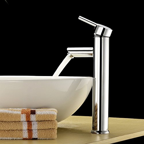 Single Handle Bathroom Sink Faucet Solid Brass Basin Mixer Taps,Chrome  Finish