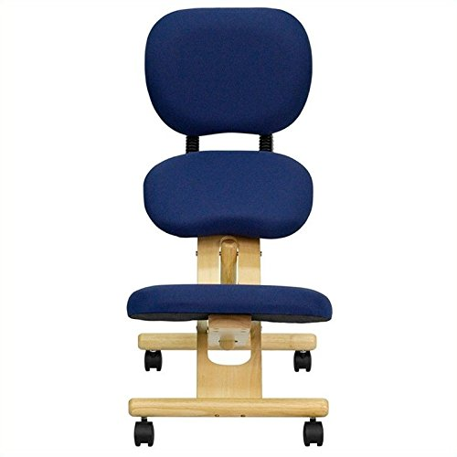 Flash Furniture Mobile Wooden Ergonomic Kneeling Posture Chair with Reclining Back in Navy Blue...