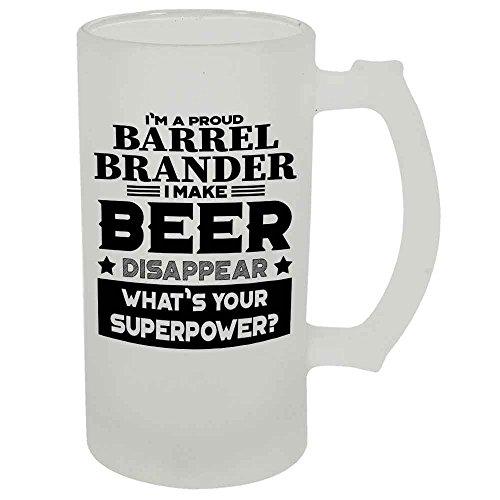 Barrel Brander Beer Mug 22 OZ Frosted Matte Finish Premium Quality By HOM Gift For Barrel Brander Friend Office Colleague Co-Worker Friend Buddy Present for Beer Lover Him Her Friend Uncle