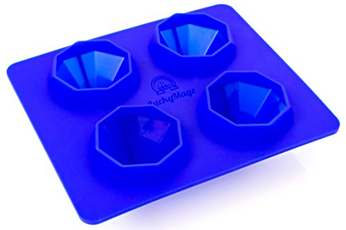 Premium Ice Cube Silicone Tray Diamond Shaped   4 BPAFree Quality Silicone Molding Cells   Flexible & Reusable Molds For Cupcakes, Chocolate, Candy, Soaps, Popsicles & Candles   Bonus PDF Brochure