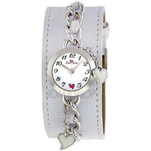 Zou Zou White Dial Silver Leather Cuff Ladies Watch ZRT6013