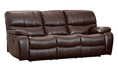 Homelegance Pecos Modern Design Power Double Reclining Sofa Leather Gel Match, Brown For Sale