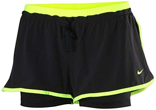 Nike Women's Full Flex 2-in-1 Training Shorts (X-Large, Black/Volt)