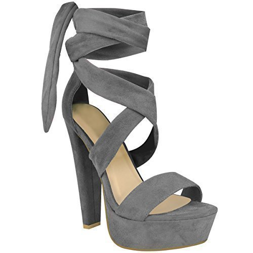 Fashion Thirsty Womens Ladies Tie Lace UP Ankle High Heels Block Platforms Party Open Shoes Size Grey Faux Suede