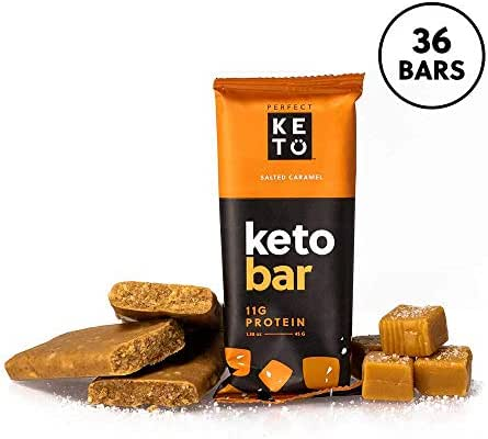Perfect Keto Bar, Keto Snack (12 Count), No Added Sugar. 11g of Protein, Coconut Oil, and Collagen, with a Touch of Sea Salt and Stevia. (3 Boxes, Salted Caramel)