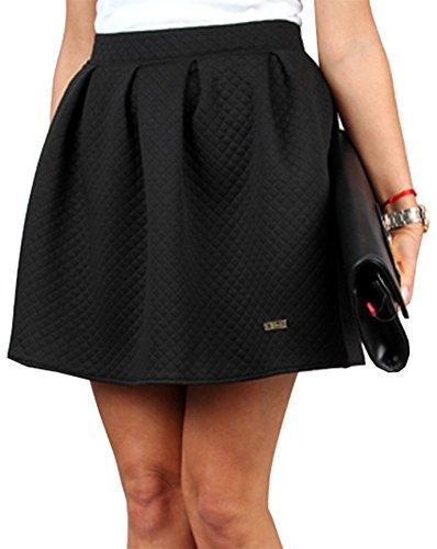 Talya Mujer Acolchado Plisado Acampanado Casual Elegante Falda 34 36 38 40 42 Negro