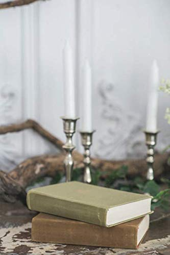 Notebear: Romantic Autumn Scenery For Photo Shoots Old Books, Green Branch, Candles Journal (Travel Notebook & Diary with Alternate Blank & Lined Pages) (Candle Journal)