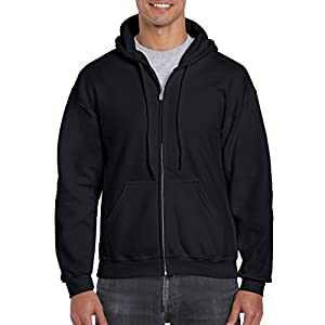 Gildan Men's Full Zip Hooded Sweatshirt, Black, 3X-Large