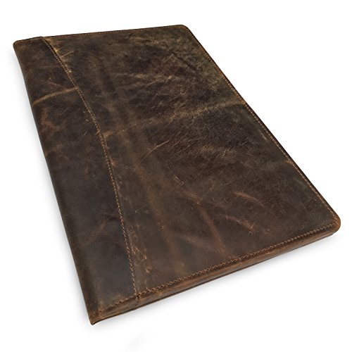 Leather Zip Padfolio (LEATHER PORTFOLIO Professional Resume Padfolio - Document Folder & Organizer Folio for Letter-Size & A4 Writing Pad with Business Card Holder, Ideal Gift Portfolios For Men + Women (Dark Brown))