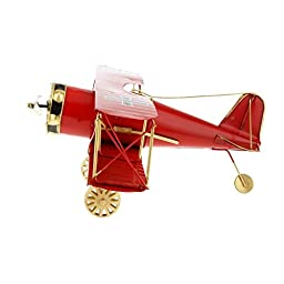 Generic Retro Vintage Tin Aircraft Airplane Biplane Decor Toy Gift Collectibles Model - Red
