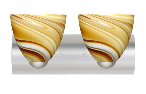 Besa Lighting 2WZ-7572HN-LED-SN 2X75W A19 Sasha II Wall Sconce with Honey Glass, Satin Nickel Finish (7572hn Sn Honey)