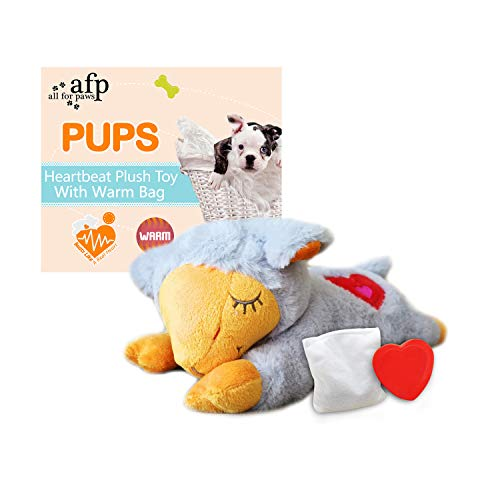 ALL FOR PAWS AFP Snuggle Sheep Pet Behavioral Aid Toy Plush Toy (Grey(Heartbeat+WarmBag))