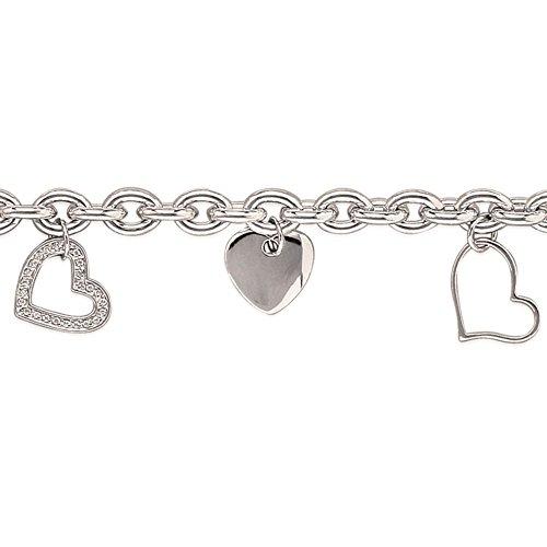 MARY JANE - Bracelet Argent Femme - Long:19cm / Larg:6mm - Argent 925/000 rhodié-Zirconium (Breloques / Coeur)