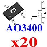 20x SMD-SOT23 AO3400 3400 N-Channel 30V 5.8A MOSFET for PWM/Load Switch