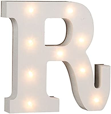 OOTB White Wooden Illuminated Letters and Numbers Complete Alphabet Letter C 16 cm