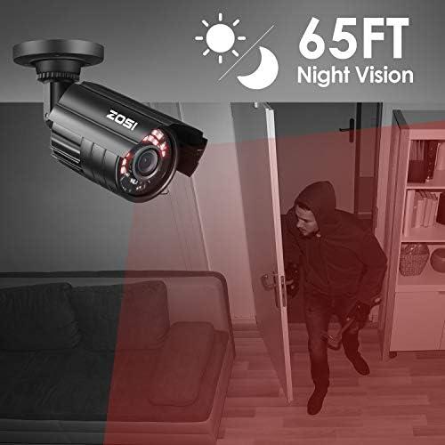 ZOSI 1080P Hybrid 4-in-1 HD TVI/CVI/AHD/CVBS 1920TVL 2.0MP CCTV Camera Home Security System 80ft Day/Night Vision Metal Waterproof Housing For 960H,720P,1080P,5MP,4K analog Surveillance DVR 41NkSHc7XHL