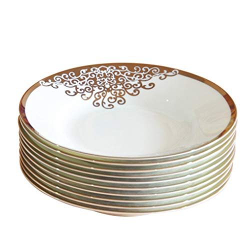 Bone china plate - 10 pieces of 8 inch plate / 45% animal bone powder, 1380 ° C high temperature refined/healthy tableware/microwave oven
