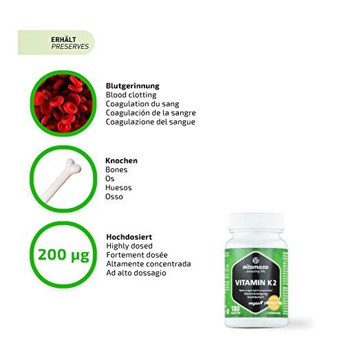 Vitamaze® Vitamine K2 MK-7 à Fort Dosage, 200 mcg Ménaquinone, 180 Comprimés Vegan pour 6 Mois, Qualité Allemande…