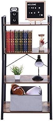 Dacawin-Household Estantería estrecha abierta - Estantería de almacenamiento retro de 4 niveles - Aspecto de madera antigua y marco de metal estante de almacenamiento de pie unidades de estante, escalera estante para