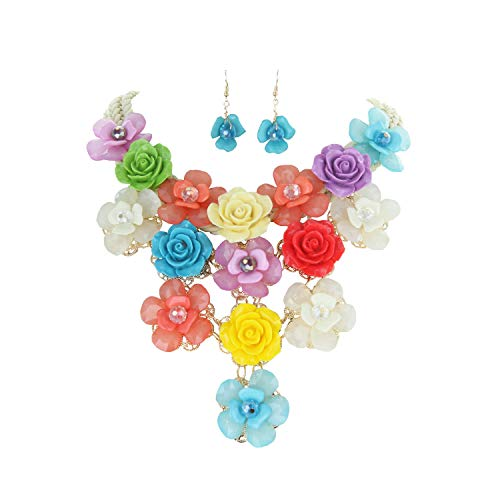 (SP Sophia Collection Enamel Floral Bouquet Statement Necklace and Earring Set in Multi-Colored)