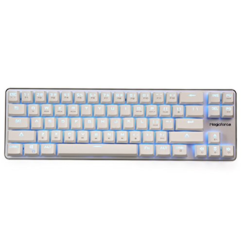 Qisan Gaming Keyboard Mechanical Wired Keyboard Cherry MX Blue Switch Ice Blue Backlight Backlight keyboard 68-Keys Mini Design White Silver by Qisan