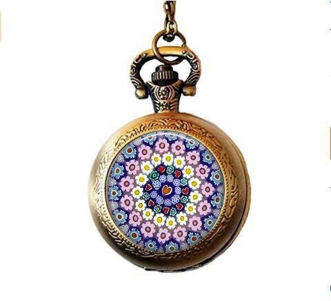 MILLEFIORI Pendant - Millefiori Necklace - Italian Jewelry - Thousand Flowers - Italian Glass - Flower Pocket Watch - Pendant Millefiori Flower