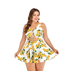 Esprlia Plus Size Floral Prinit Halter Swimwear One Piece Pin Up Tankini Swimwear