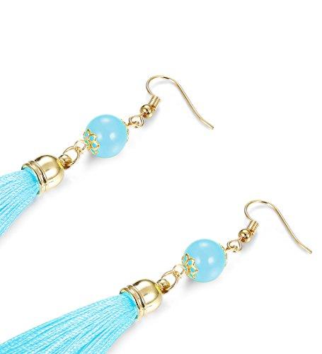 LOLIAS 3 Pairs Long Thread Tassel Earrings Set for Women Girls Beaded Fringe Tassel Earrings Gradient,Blue by LOLIAS (Image #4)