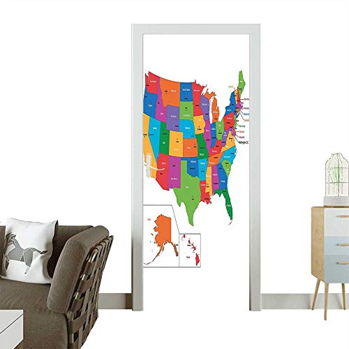 Door Sticker Wall Decals Colorful USA Map with States and Capital Cities Washington Florida a Color Easy to Peel and StickW31 x H79 INCH