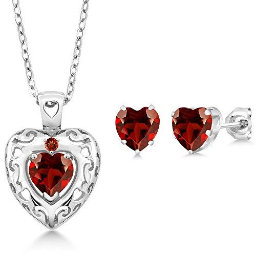 2.72 Ct Heart Shape Red Garnet 925 Sterling Silver Pendant Earrings - Garnet Earrings Shape Pendant