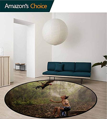 RUGSMAT Jungle Round Rug,Chinese Man in Forest Training His Bird Ecological Spiritual Life Picture Print Carpet Door Pad for Bedroom/Living Room/Balcony/Kitchen Mat,Round-47 Inch Green Brown
