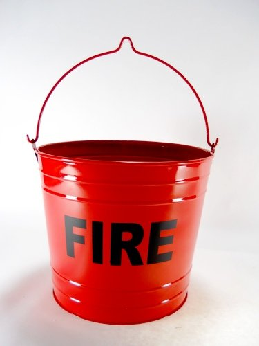 Fire Bucket Trash Can FLAT BOTTOM RED FIRE PAIL
