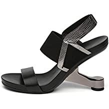Aworth High Heel Sandals Women Shoes Genuine Leather Mixed Color Open Toe Strange Fretwork Heel Summer Women Sandals HL37
