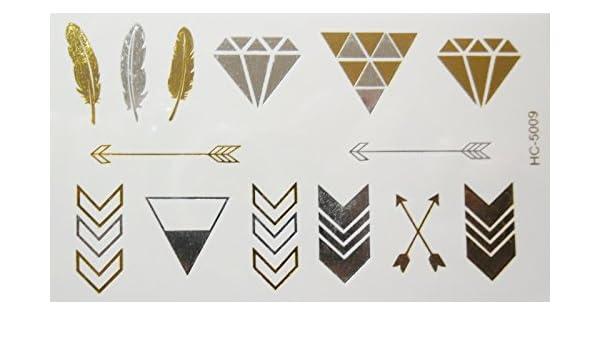Body Art: tatuaje temporal, diamantes, plumas y flechas dorados y ...