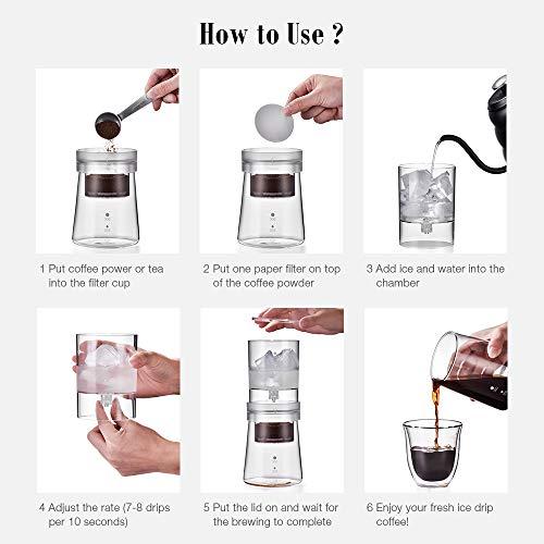 soulhand cafetera de frío, de hielo ajustable gota a gota 350 ml jarra de cristal Cafetera holandesa incluye 50 piezas de papel de filtro: Amazon.es: Hogar