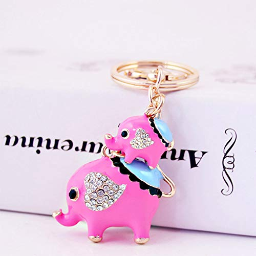 Jzcky Shzrp Mother and Child Elephant Crystal Rhinestone Keychain Key Chain Sparkling Key Ring Charm Purse Pendant Handbag Bag Decoration Holiday Gift(Pink)