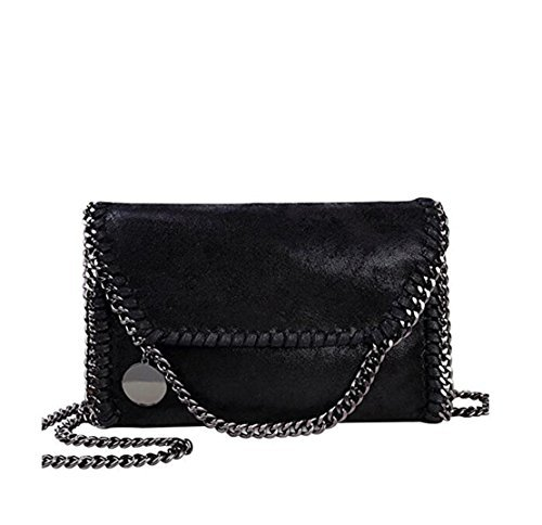 Mioy Women's Solid color handbag Mini Soft PU Leather Crossbody bag Casual Chain Bag shoulder Bag For girls (Black-1) -