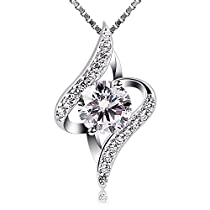 B.Catcher Women Necklace 925 Sterling Silver Gift Idea Necklace Cubic Zirconia Pendant,18